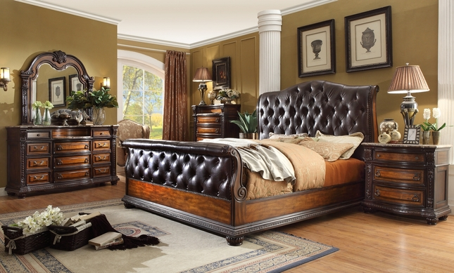 Antique Brown Button Tufted Leather Bedroom Set Marble Tops