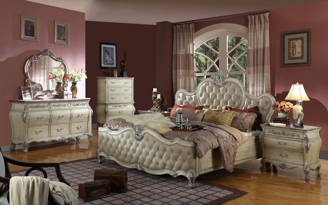 Antoinette White Leather Bed Traditional Bedroom Set w/Marble Top ...