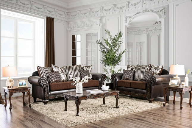 Marvelous Antoinette Brown Chenille Faux Leather Sofa Set With Unemploymentrelief Wooden Chair Designs For Living Room Unemploymentrelieforg