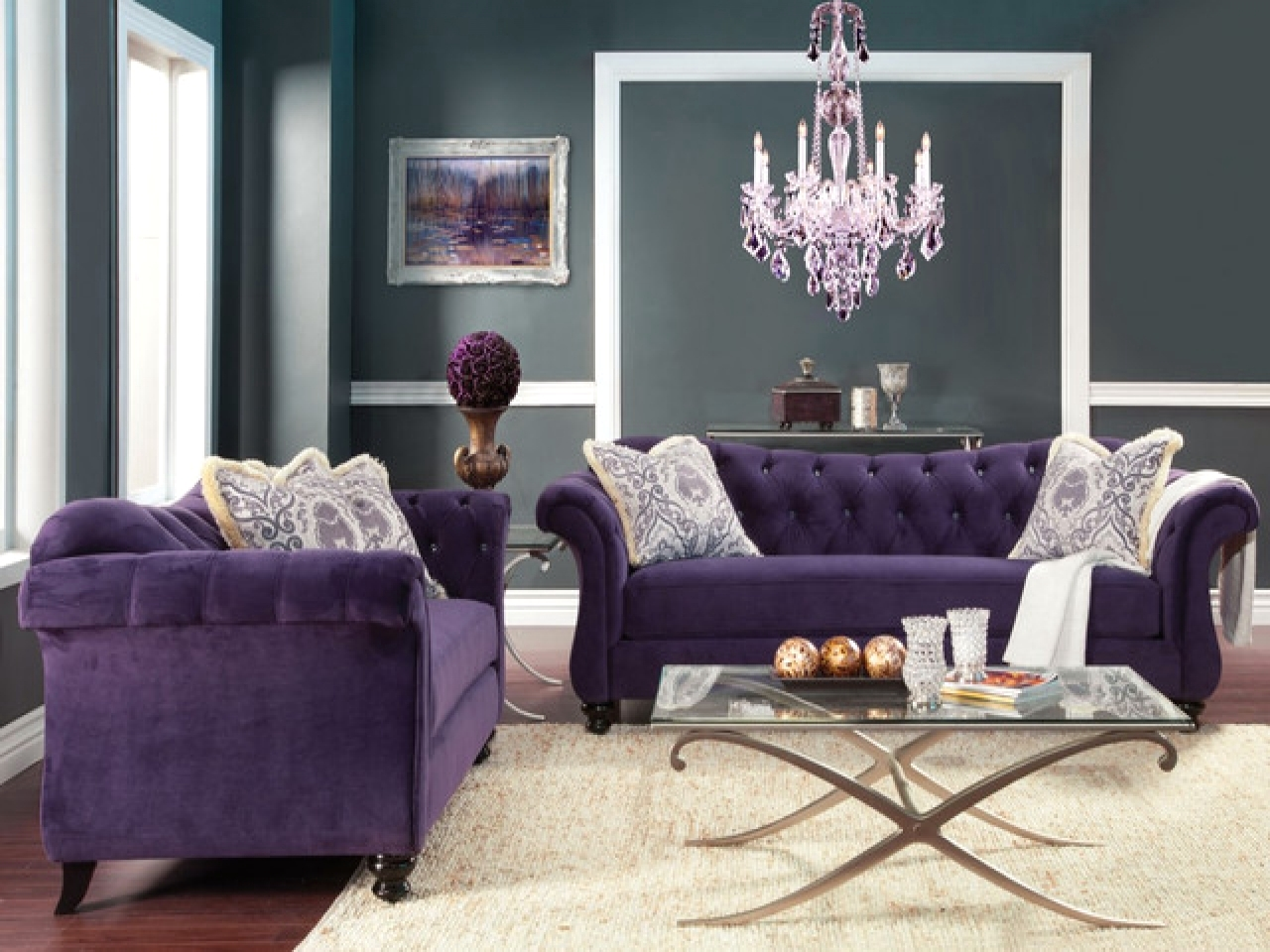 Antoinette crystal button tufted transitional living room for Purple couch set