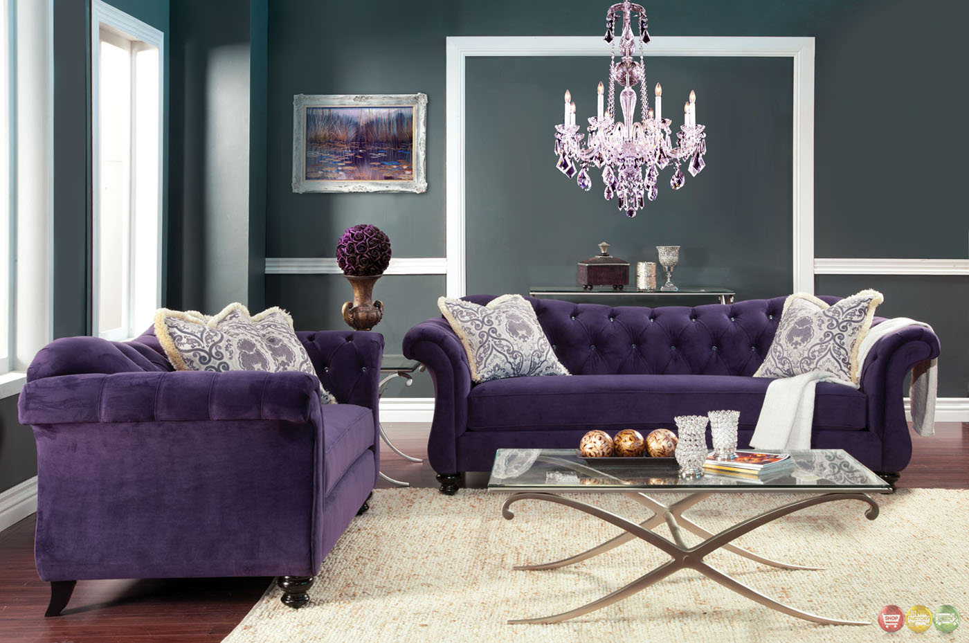 Antoinette crystal button tufted transitional purple sofa set for Tufted couch set