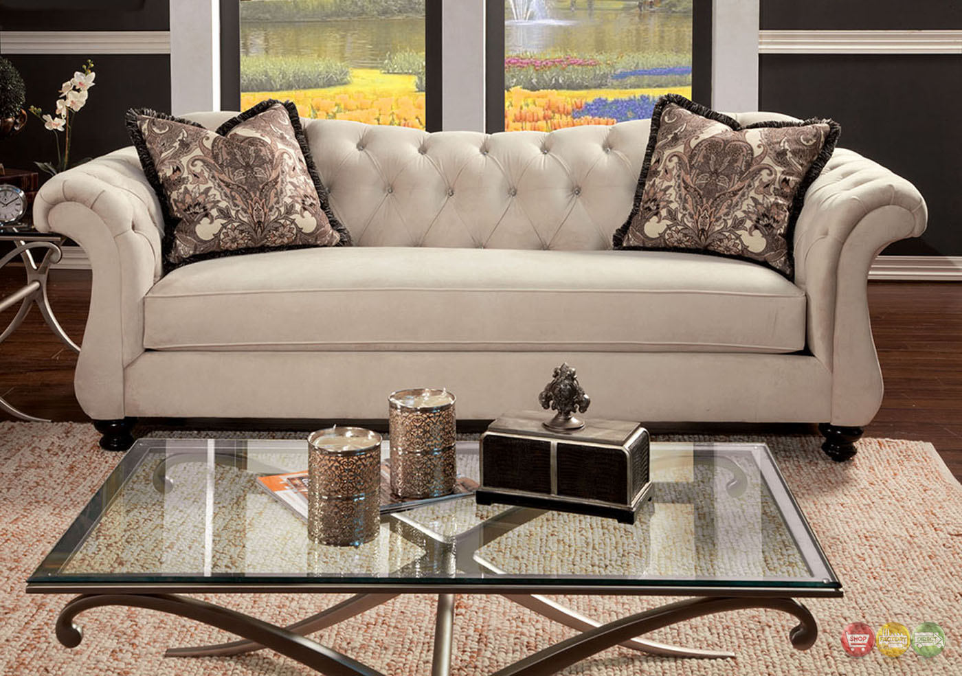 Antoinette crystal button tufted transitional living room for Tufted couch set