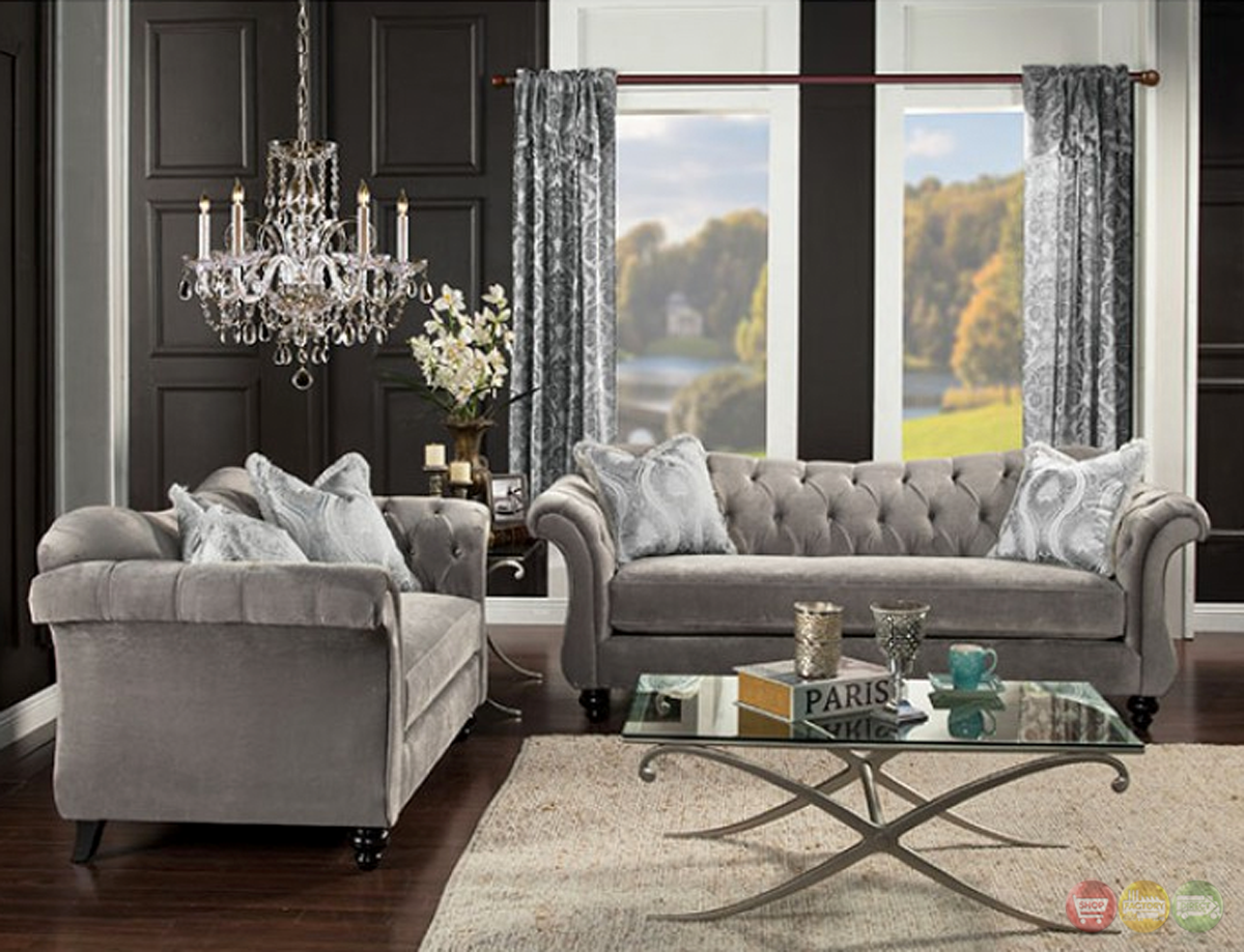 Antoinette Gray Velvet Chesterfield Inspired Crystal Button Tufted Sofa Set