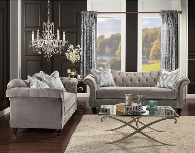 Gray Chesterfield Sofa Velvet