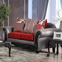 Antoinette Grey Faux Leather & Red Chenille Loveseat with Exposed Wood Frame