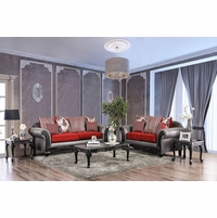 Antoinette Grey Faux Leather & Red Chenille Sofa Set with Exposed Wood Frame