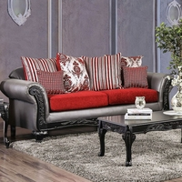 Antoinette Grey Faux Leather & Red Chenille Sofa with Exposed Wood Frame