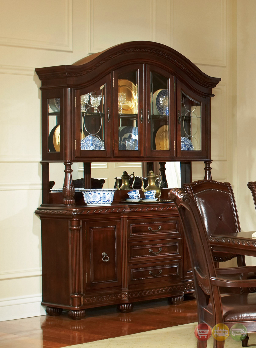 Antoinette Mahogany China Cabinet With Distressed Cherry