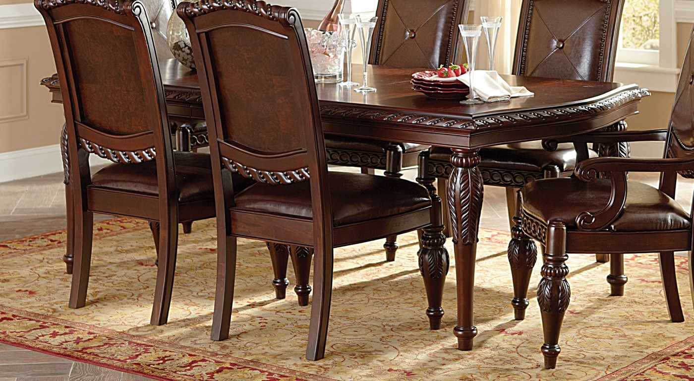 Antoinette Mahogany Dining Table With Distressed Cherry Finish