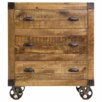 Antonelli 3-Drawer Rough Sawn Mango Wood Accent Cabinet