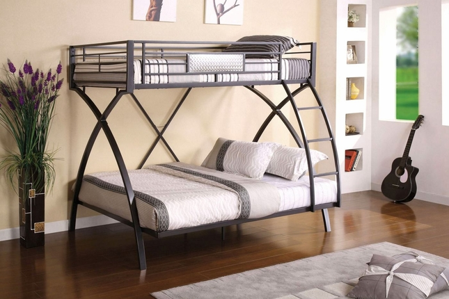 Apollo II Contemporary Gun Metal and Chrome Bunk Bed with Front Access Ladder