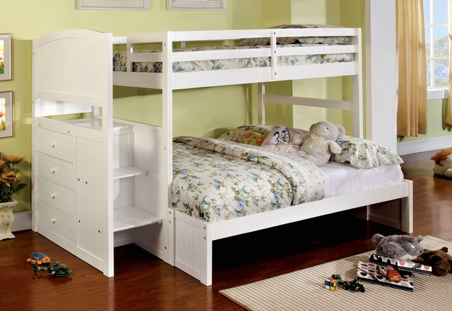 Appenzell White Bunk Bed w/Built-in Front Steps and Drawers