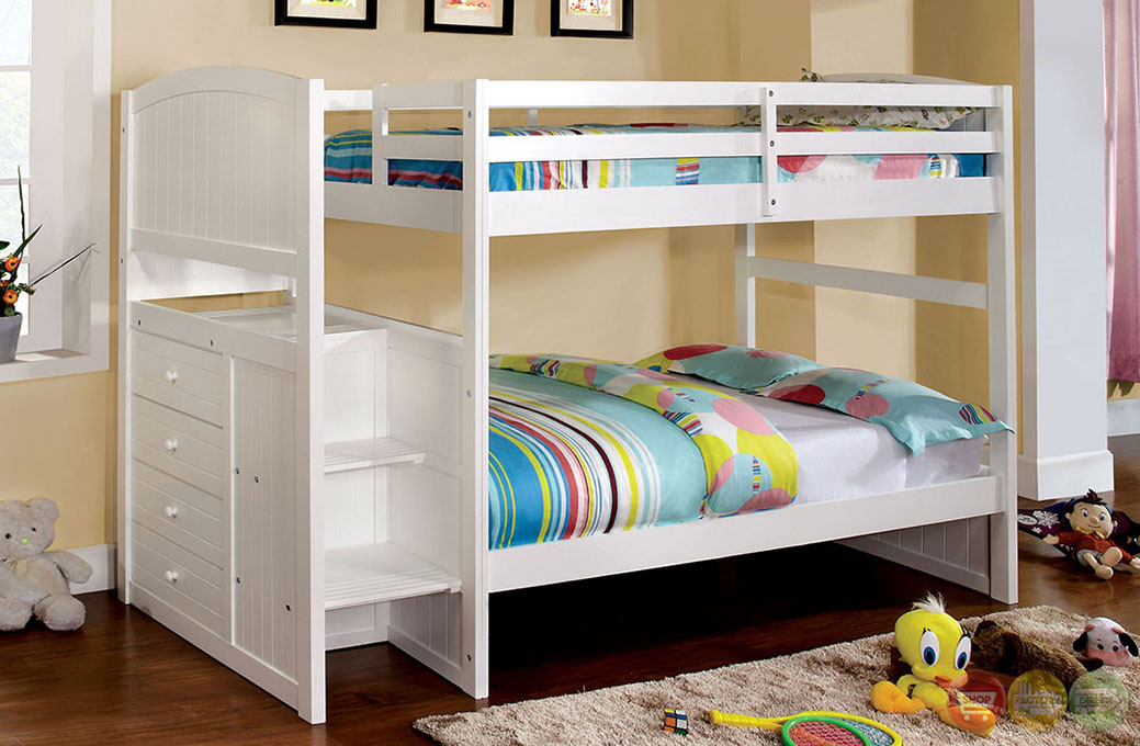 Appenzell white bunk bed with built in drawers and front access steps cm bk922t - Bunk bed with drawer steps ...