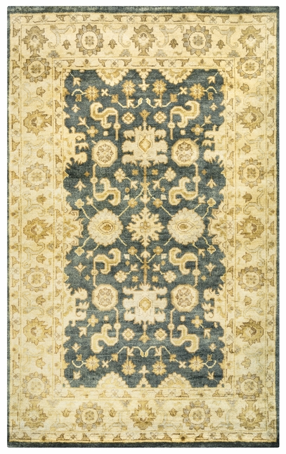Aquarius Border Pattern New Zealand Wool Area Rug In Grey Beige 3