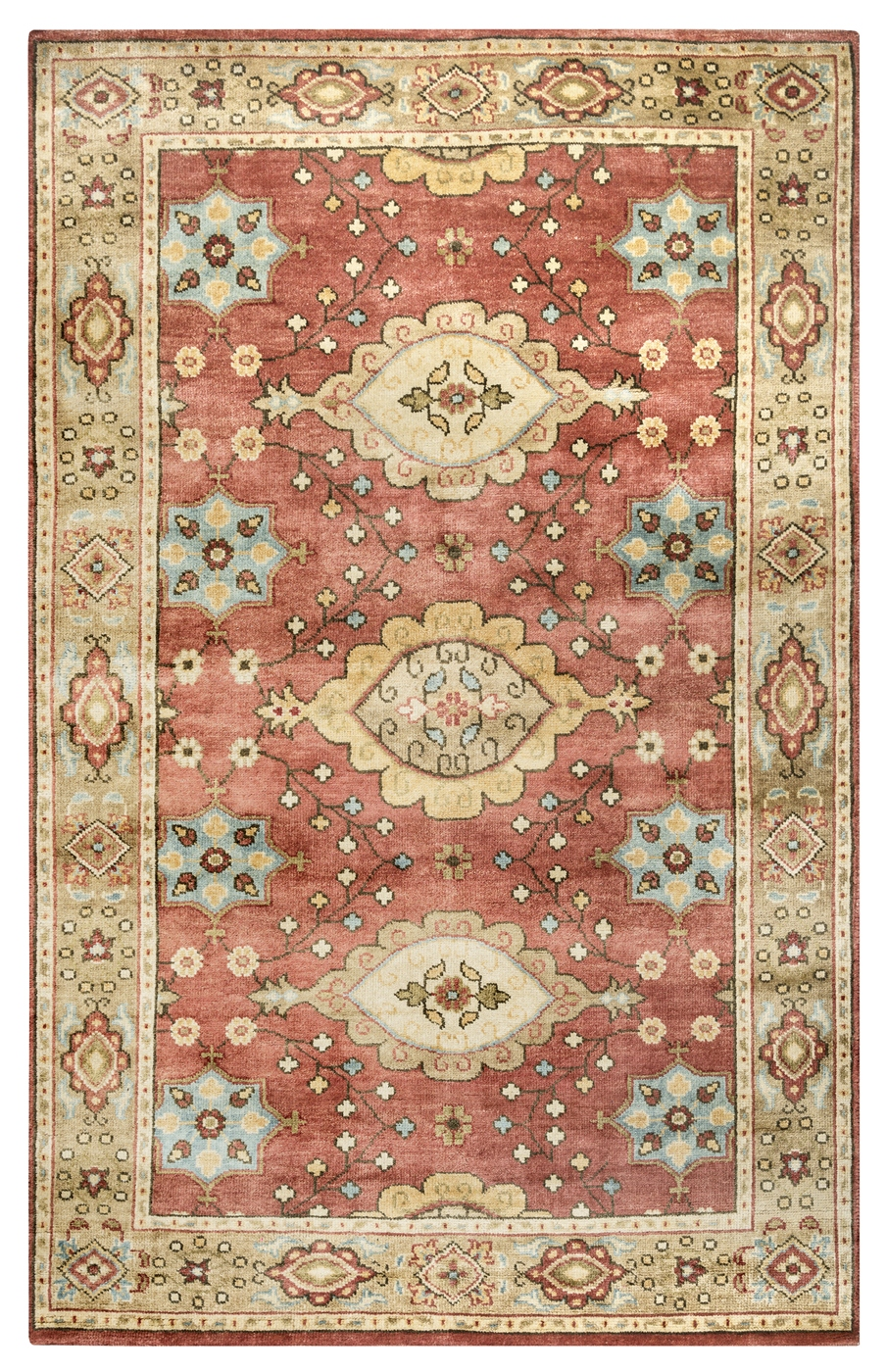Aquarius Traditional Border New Zealand Wool Area Rug In