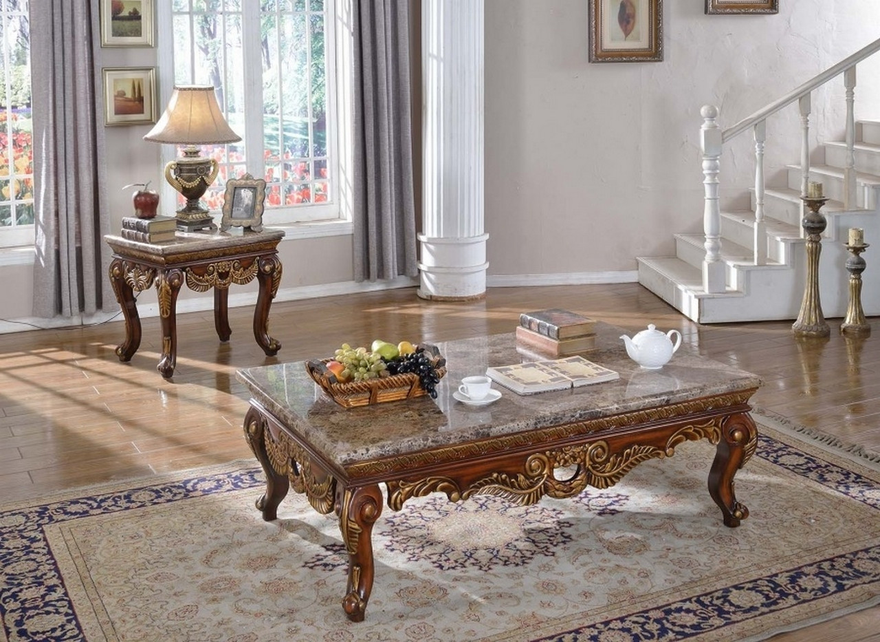 Aragon Traditional Marble Top Coffee Table w/Carved ...