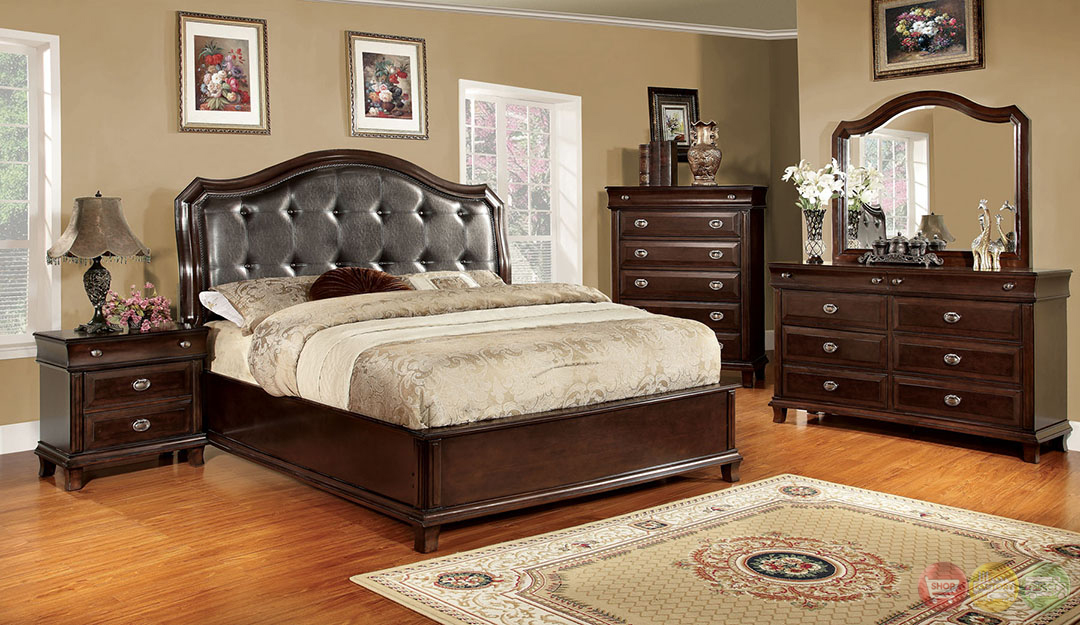Arden transitional espresso bedroom set with leatherette for Transitional bedroom furniture