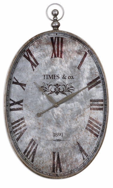 Argento Antique Brushed Aluminum Clock Face Under Glass Wall Clock  06642