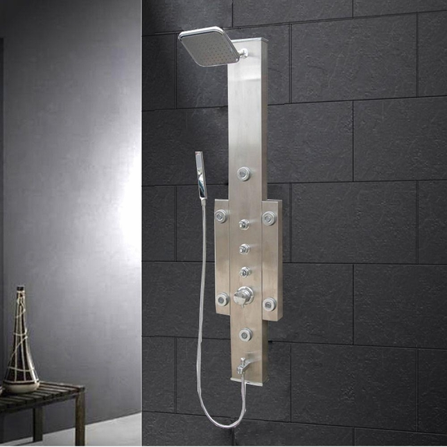 Ariel Stainless Steel Shower Panel with rainfall and handheld shower heads