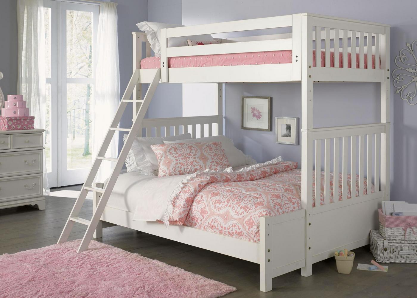 Arielle white finish youth traditional bunkbed bedroom set for White traditional bedroom furniture