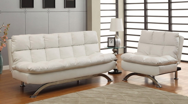 Groovy Aristo Contemporary White Sofa Set With Leatherette Seat Dailytribune Chair Design For Home Dailytribuneorg