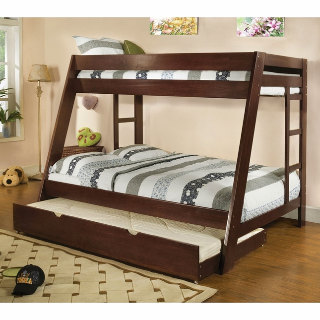 Arizona Dark Walnut Bunk Bed with Ladder on Both Sides