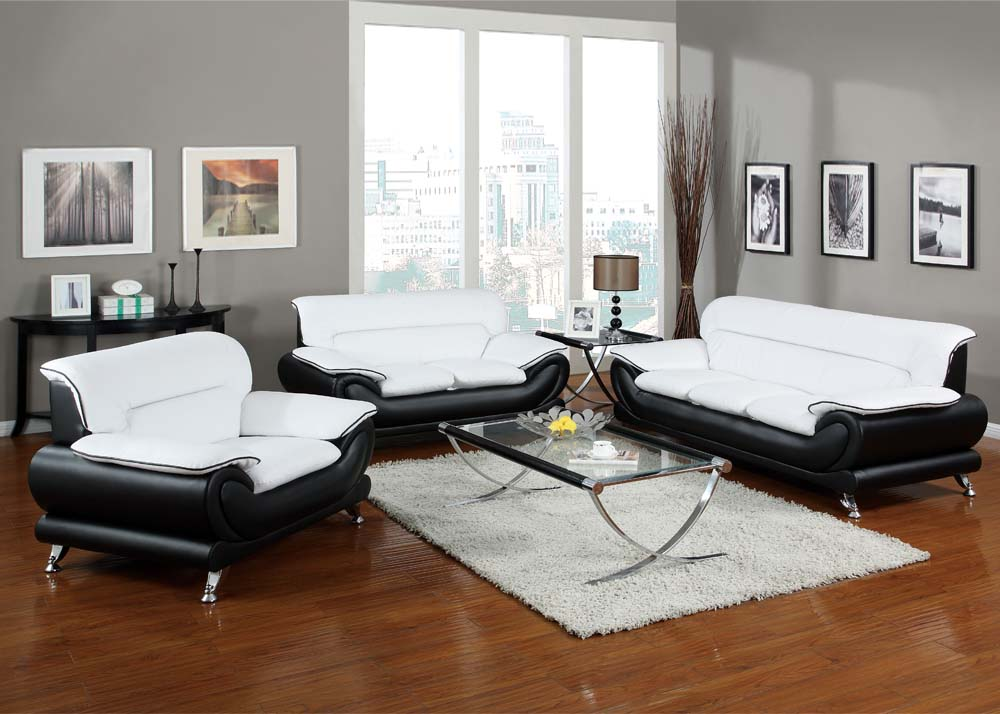 Orel modern contemporary black white bonded leather for Contemporary living room sets