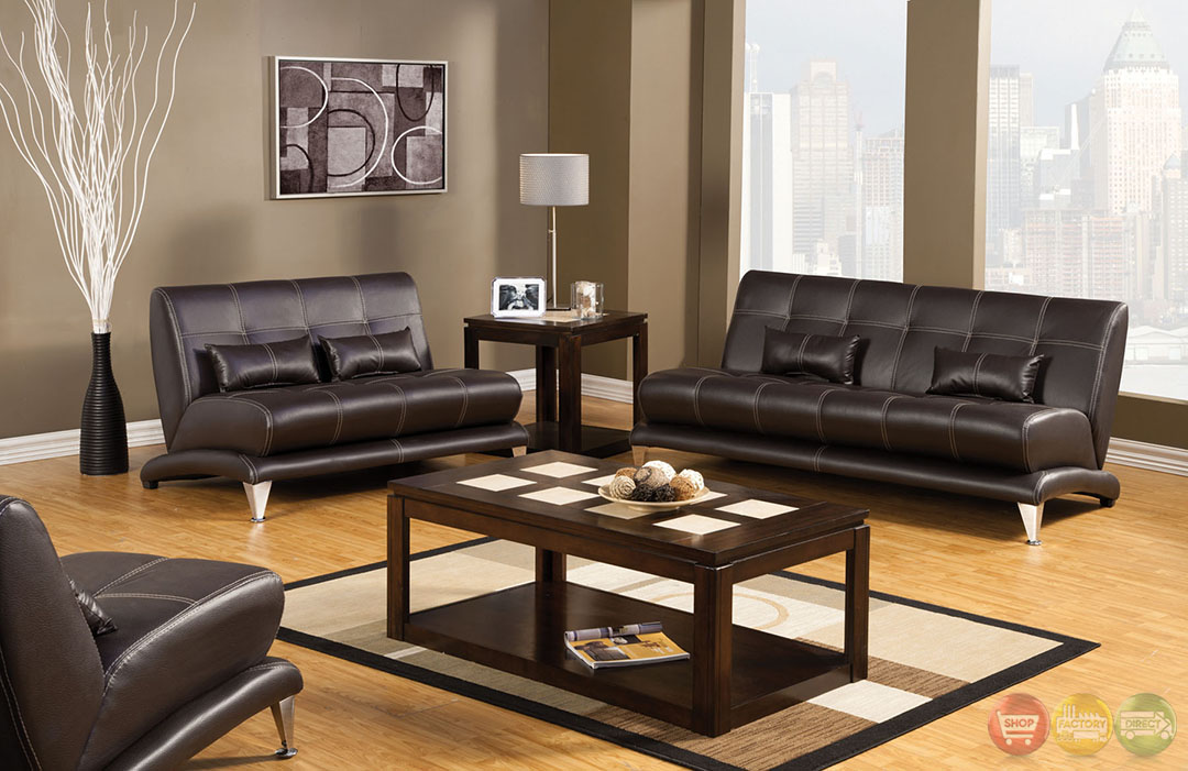 Artem Modern Espresso Living Room Set With Pillows Sm6071
