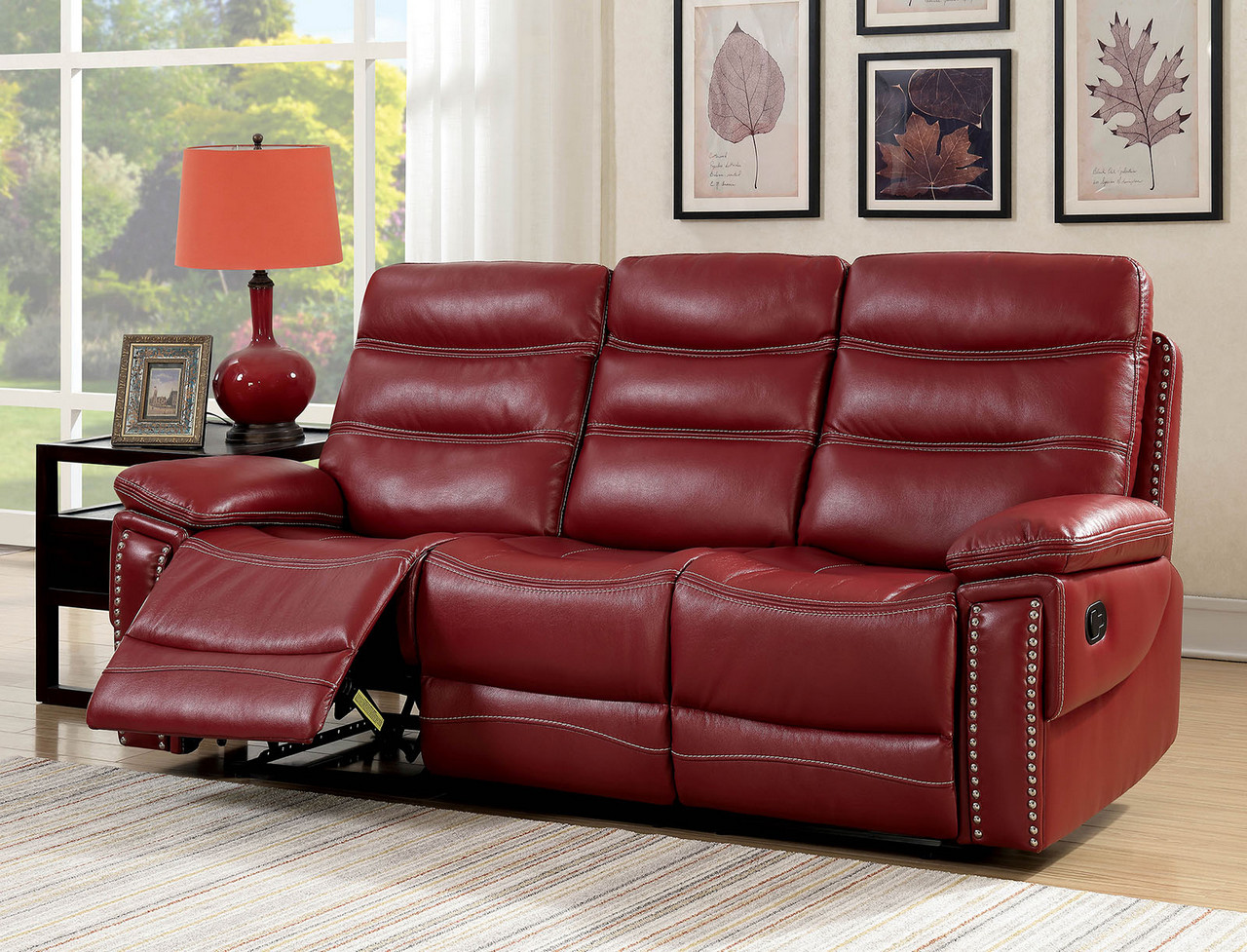 Artemis Contemporary Red Faux Leather Reclining Sofa With