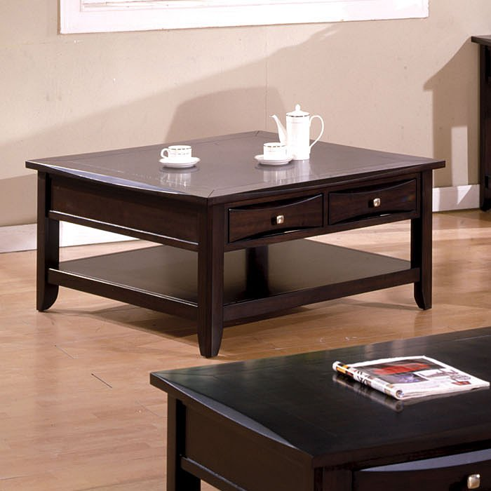 Arther casual dark brown beveled square coffee table with drawer shelf Square coffee table with shelf