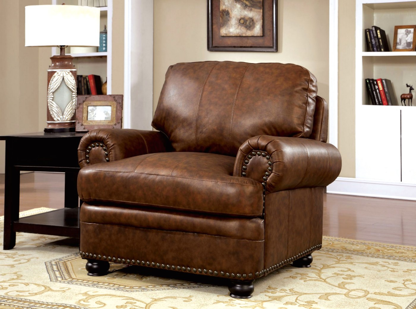 Arther Traditional Brown Chair In Top Grain Leather