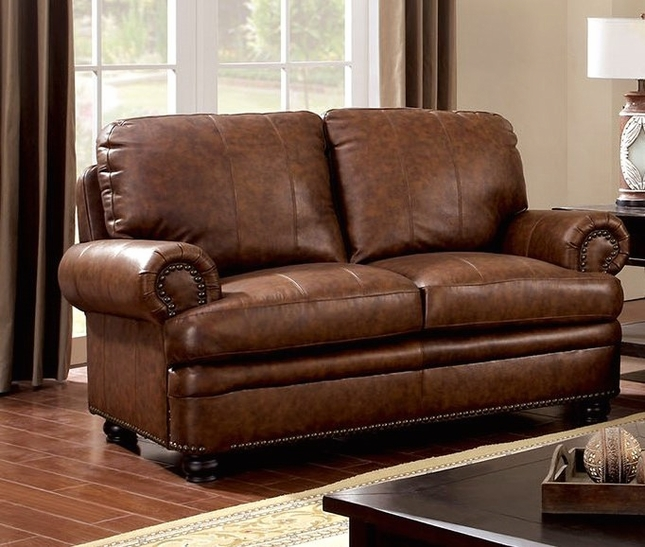 Arther Traditional Brown Loveseat In Top Grain Leather Nailhead Trim