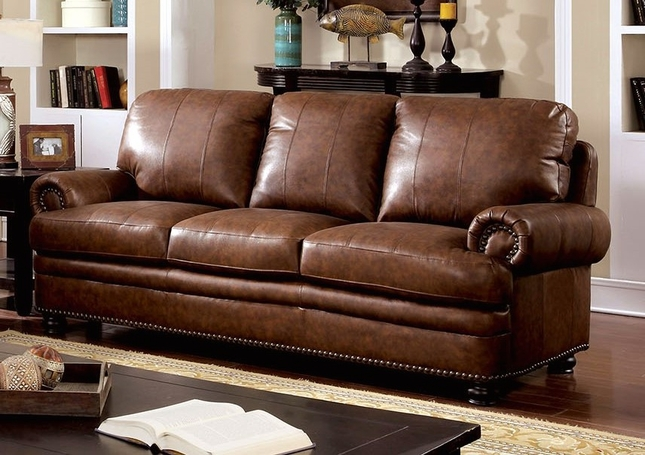 Arther Traditional Brown Sofa In Top Grain Leather