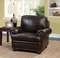 Arther Traditional Dark Brown Chair In Top Grain Leather & Nailhead Trim
