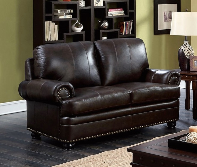 Arther Traditional Dark Brown Loveseat In Top Grain