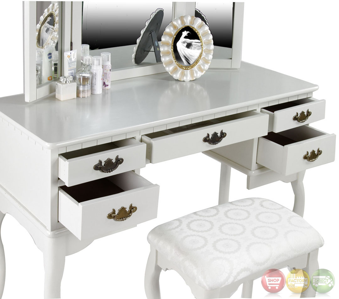 Ashland Chippendale White Vanity Table With Bench