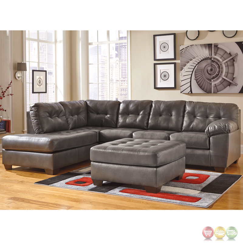 Ashley alliston sectional w left side facing chaise in for Ashley durablend chaise