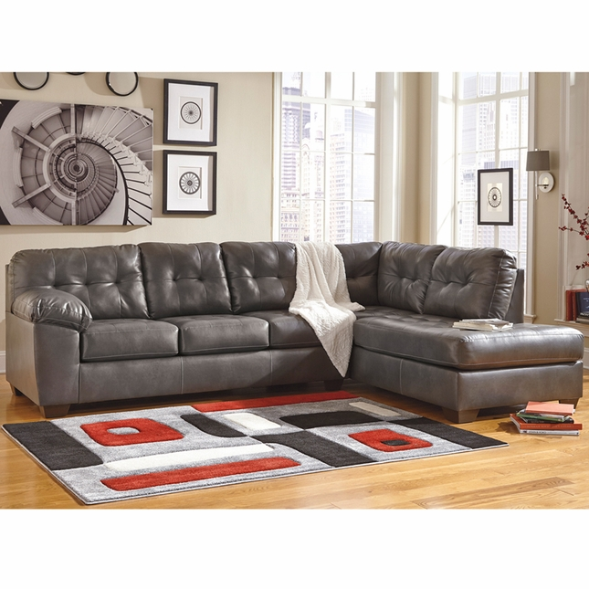 Ashley Alliston Sectional W/ Right Side Facing Chaise In Gray Durablend