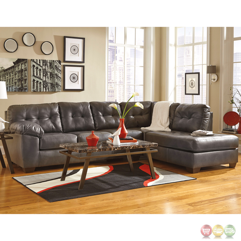 Ashley alliston sectional w right side facing chaise in for Ashley durablend chaise