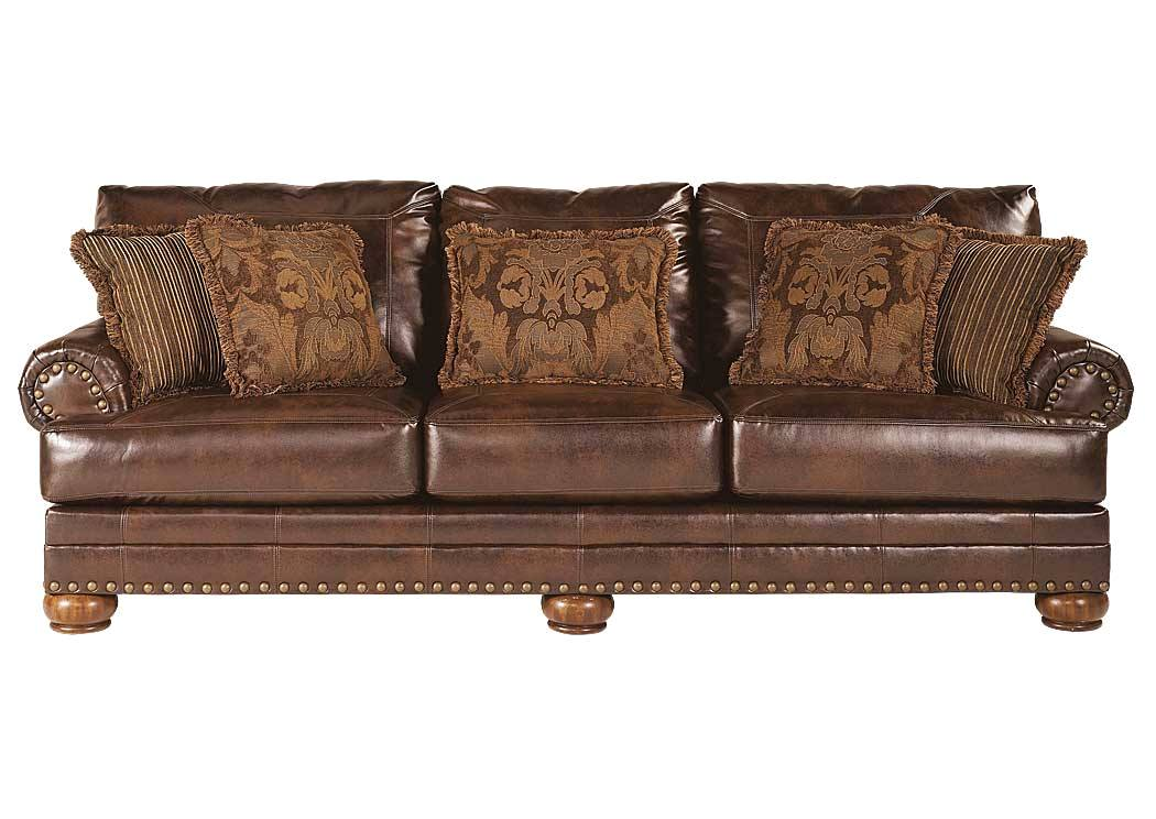Ashley antique brown bonded leather sofa rolled arms for Furniture leather sofa