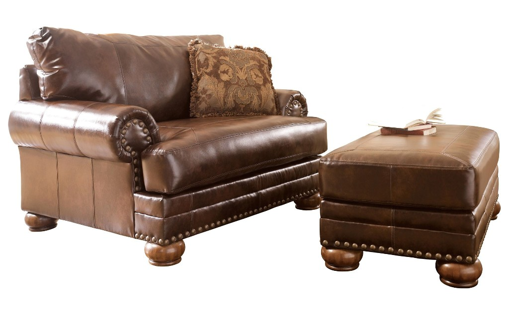 Ashley Antique Brown Leather Chair W Rolled Arms