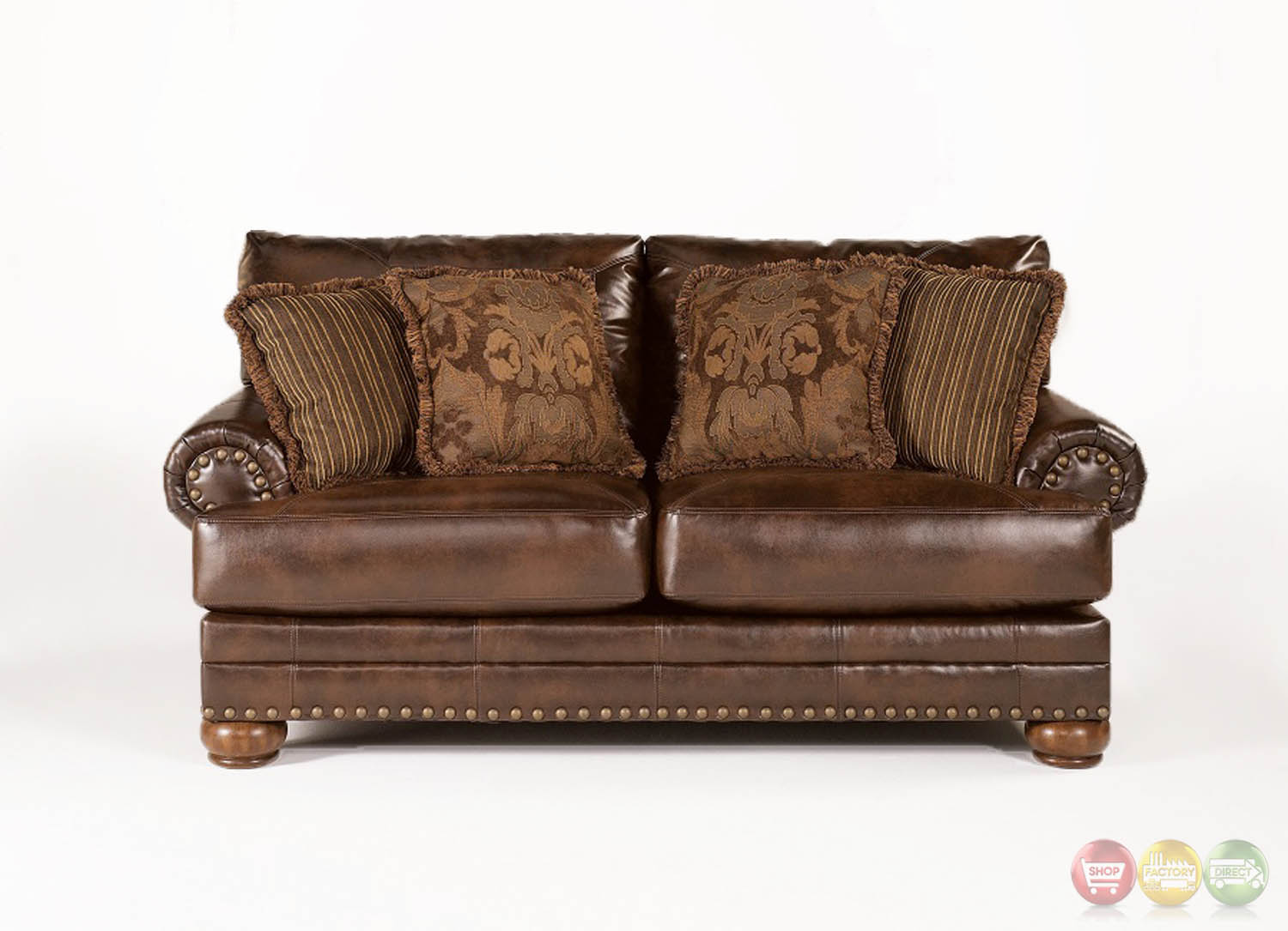 Ashley Antique Brown Leather Loveseat W Rolled Arms