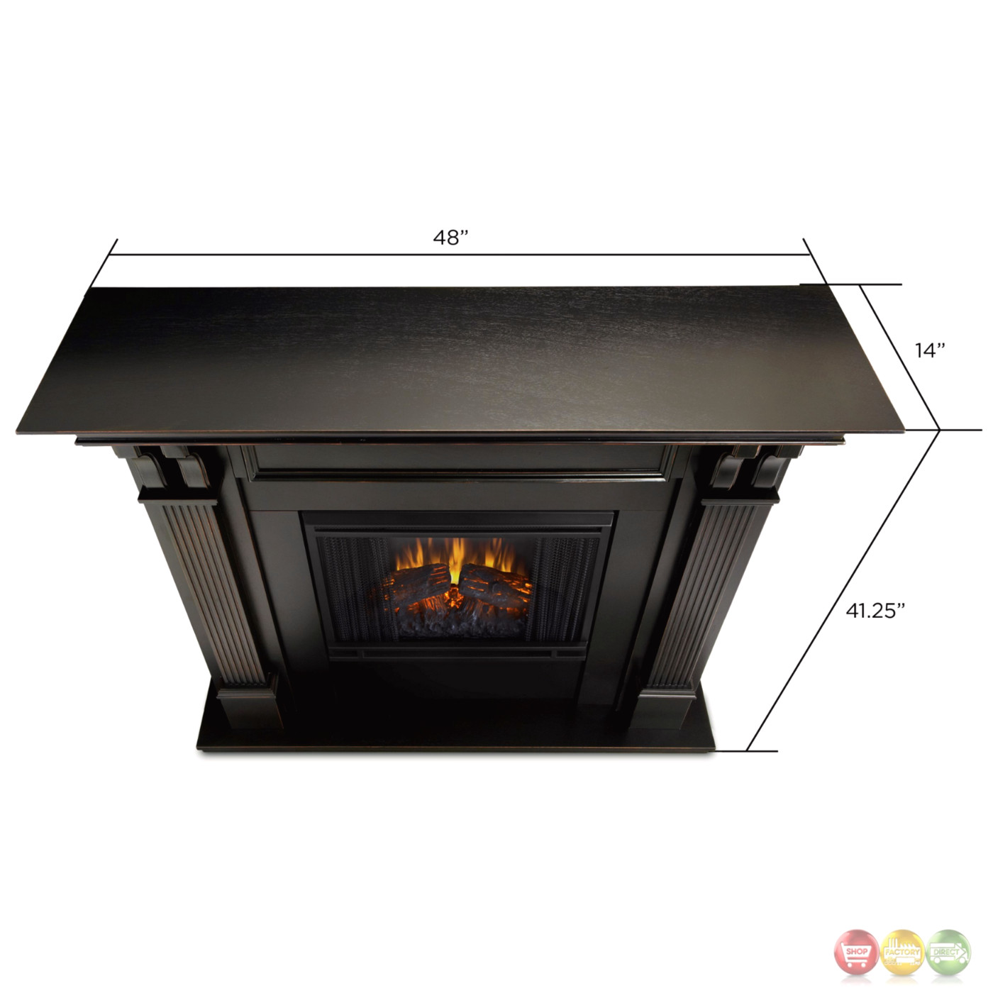 indoor electric led heater fireplace in white