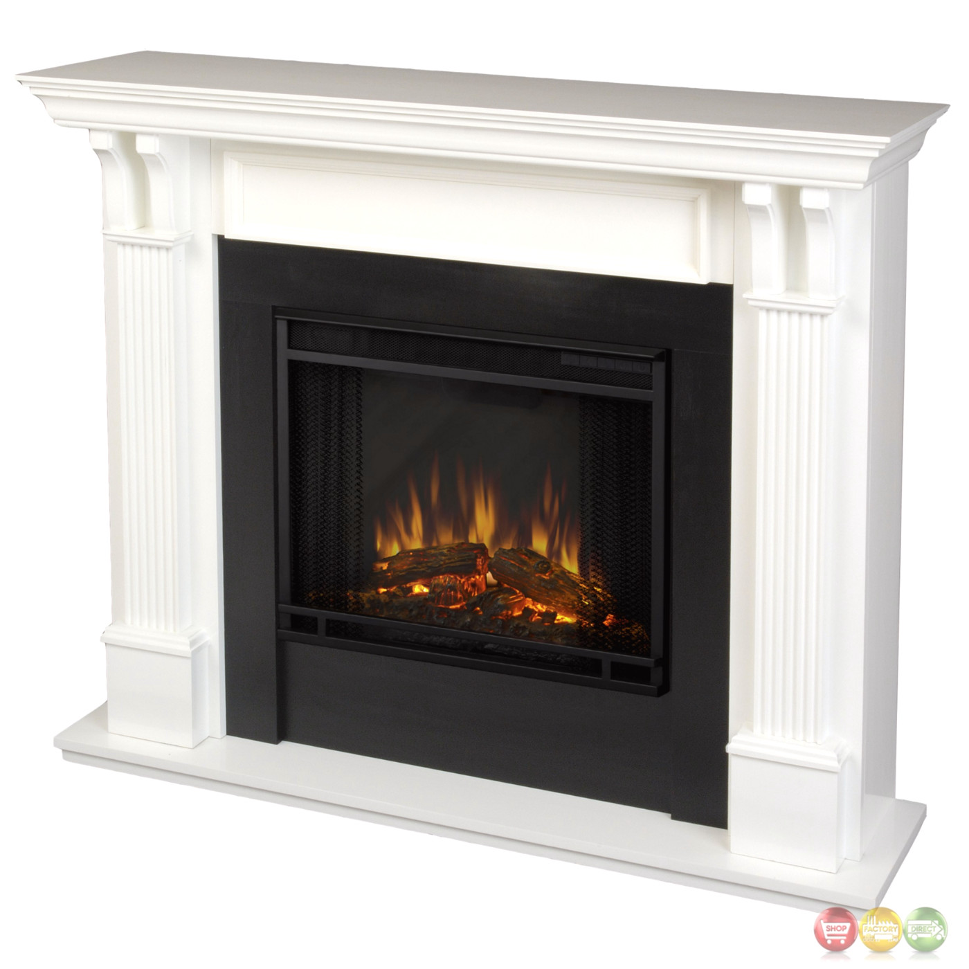 Ashley indoor electric led heater fireplace in white for Building an indoor fireplace