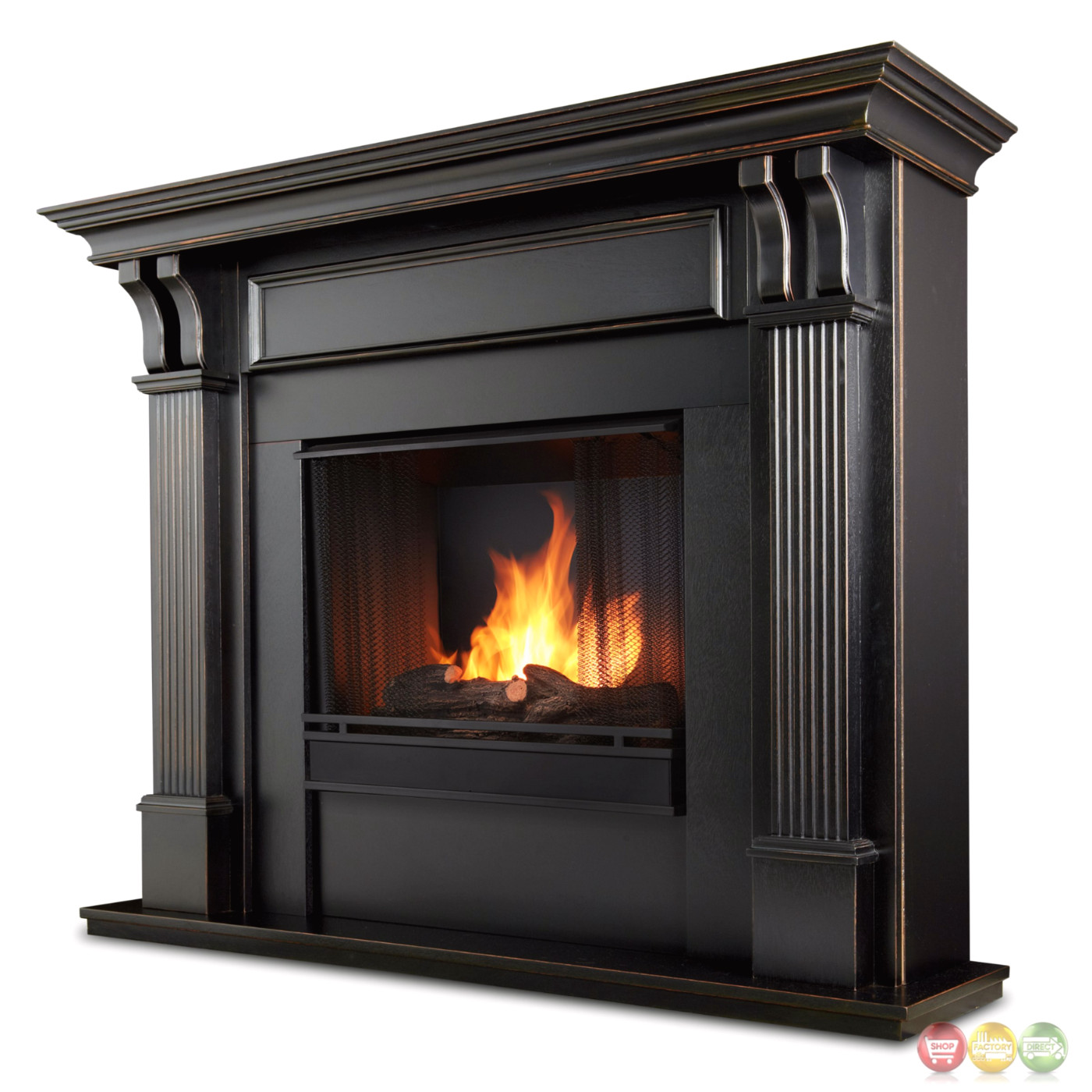 Ashley indoor ventless gel fireplace in white with cast for Building an indoor fireplace