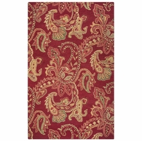 """Rizzy Ashlyn Soft New Zealand Wool Runner Area Rug 2'6""""x 8'Red Tan Brown Paisley"""