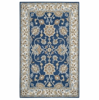 Rizzy Ashlyn Soft New Zealand Wool Rectangle Area Rug 3 x 5'Blue Ivory White