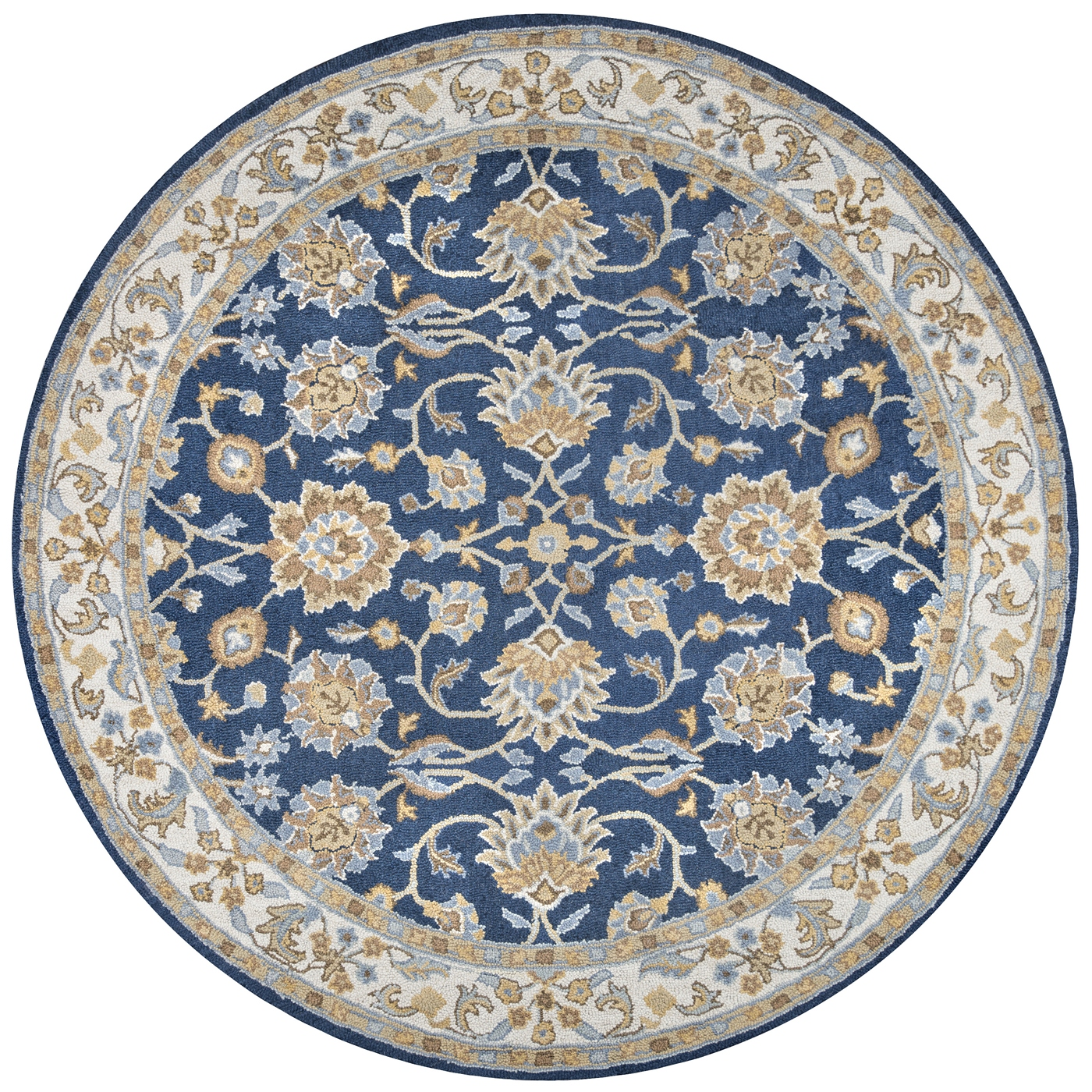 ashlyn traditional border new zealand wool round rug in blue ivory 10 39 x 10 39. Black Bedroom Furniture Sets. Home Design Ideas