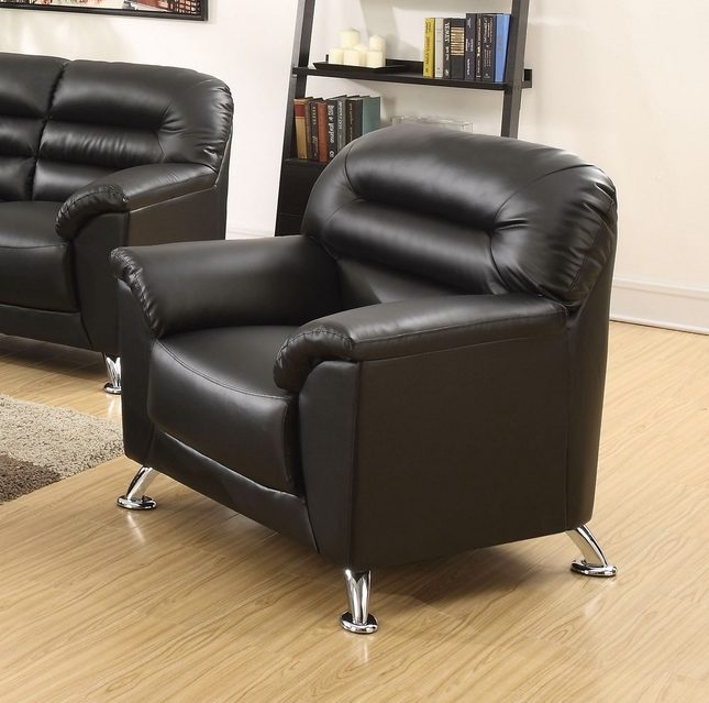 Asmund Modern Black Faux Leather Chair with Chrome Legs