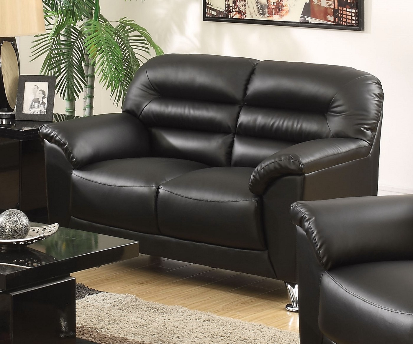 Asmund Modern Black Faux Leather Loveseat With Chrome Legs